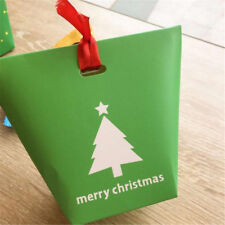 2/5/10X Christmas Paper Gift Bag Xmas Candy Carrier Present Boxes Without Ribbon