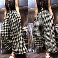 Women's Linen Cotton drawstring Trousers Plaids Check Loose Fit Wide Leg Pants