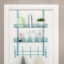 2 Tier Over The Door 5 Hooks Organizer Rack With Shelf for Coats, Hats, , Towels