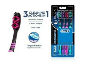 2x Oral-B CAVITY DEFENCE 123 BLACK TOOTHBRUSH (MEDIUM) -4 PC PACK | Gently Clean