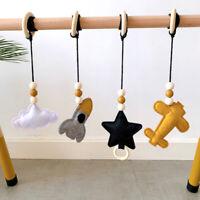 Rocket Star Cloud Felt Cotton Wood Ring Baby Hanging Play Gym Toys Pram Rattles