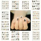 Halloween Nail Art Water Transfer Decal Sticker Witch Spider Bat Skull 4 Sheets