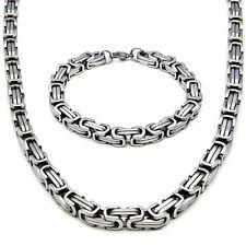 5mm/65cm Set Byzantine Collier + Bracelet Chaîne Acier Inoxydable Argent