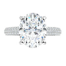 Micro Pave Engagement Wedding Ring 3.55 Ct Moissanite Oval Forever One