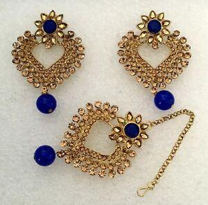 Bridal Maang Tikka Earring Set Bollywood Style Gold Tone Indian Kundan Jewelry 5