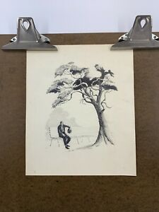 Vintage 50's DRAWING Man On Bench Under Tree Sketch Unframed French Artist