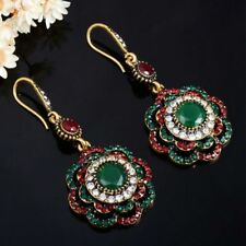 Cuff Vintage Ethnic Drop Earrings Long Clip Crystal Party