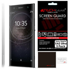 3 Pack of TECHGEAR CLEAR Screen Protector Cover Guards For Sony Xperia XA2 Ultra