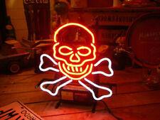 """Skull Bone Neon Light Sign 14"""" Lamp Beer Pub Real Glass Artwork Bar Decor"""
