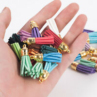 Lots 30Pcs Suede Leather Tassel DIY Keychain Pendant Jewelry Finding Charms Hot