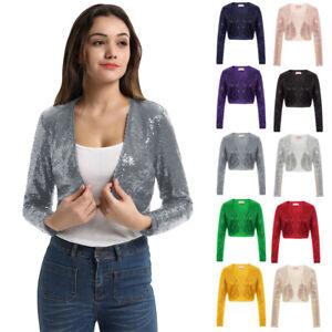 Sexy Women's Shiny Sequin Bolero Shrug Jacket Cropped Top Cardigan Long Sleeve