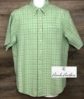 Brooks Brothers Men's 100% Linen Green Plaid Short Sleeve Button Down Shirt L
