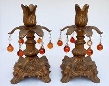 Vintage PAIR (2) Candlesticks Brass Orange Glass Bead PRISMS HOLLYWOOD REGENCY