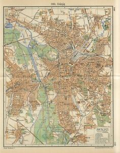 1920s GERMANY LEIPZIG CITY PLAN Antique Map