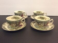 Set of 4 Johnson Bros Ice House The Friendly Village Tea Cups,Saucers England