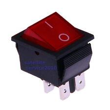 Interruttore a Bilanciere 230V Bipolare Luminoso On/Off 31x26mm Rosso Illuminato