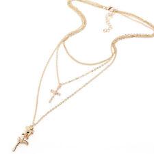 3 Layer Women Boho Simple Chain Cross Rose Pendant Choker Statement Necklace