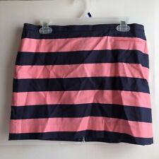 GAP Navy Blue Hot Bubblegum Pink Striped Short Mini Skirt Back Zipper 8 Medium