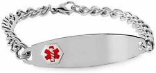 Stainless Steel Men's Medical ID Bracelet - Stainless Steel 8 inch