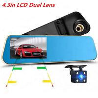 "4.3"" Monitor Dual Lens Car Reverse Backup Rearview Mirror Recorder Video Camera"