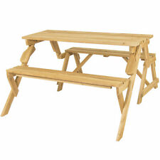 2in1 Convertible Outdoor Wooden Picnic Table Bench Umbrella Hole Yard Furniture
