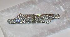 Vintage Art Deco Rhinestone and Silver Tone Bar Pin