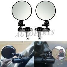"7/8"" 1 inch Handle Bar End Foldable Black Side Mirrors Cafe Racer Chopper Bobber"
