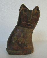Vintage Old Hand Carved Brass Fitted Wooden Cat Statue Collectible