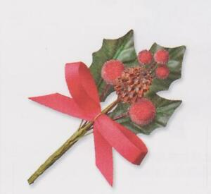 Christmas Holly Leaves with Red Berries/Cone & Bow Spray Cake/Craft Decoration