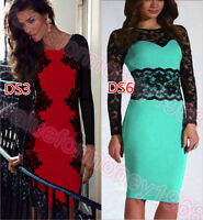 New Womens Sexy Lace Bodycon Long Sleeve Business Evening Party Cocktail Dress