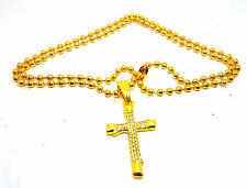 Hiphop Dog Tag Army Rolo Chain Iced Cross Clear Crystal  Pendant Gold Necklace