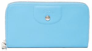 NWT, New in Box LONGCHAMP Le Pliage Cuir Long Zip Around Wallet, Cornflower Blue