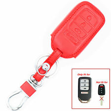Red Leather 4 Buttons Remote Key Chain Cover Case For Honda Accord Civic CR-V
