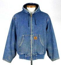 Vintage 80s Carhartt Blue Denim Jean Jacket Work Coat Flannel Lined Hood Mens Xl
