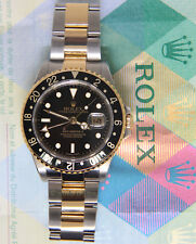 Rolex GMT-Master II 18k Yellow Gold/Steel Black Mens Watch P 16713