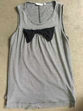 NEW LOOK NAVY/WHITE STRIPE VEST WITH LARGE BOW BELOW NECKLINE FLOWS OUT-SIZE 14