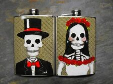 Mr and Mrs Skully Decorated 8oz. Stainless Steel Flask Set of 2 - FD321, FD322