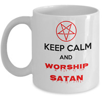 Satanic coffee mug - Keep calm and worship Satan - Occult accessories gift cup