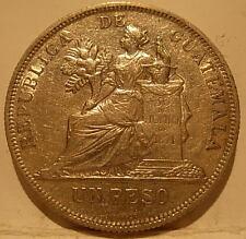 Guatemala 1896 Silver Peso AU+