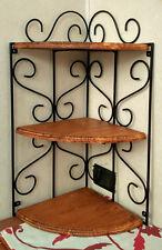 mensola rustica in ferro battuto e legno libreria parete angoliera nera teak
