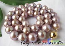 """p16 LUSTER AAA 17.5"""" round 12mm purple FW pearl necklace 14k gold"""