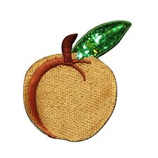 ID 1220 Peach With Sequins Patch Summer Fruit Tree Embroidered Iron On Applique