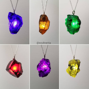 Raw Infinity Stone Pendant Necklace kryptonite sorcerer gauntlet fatal5150
