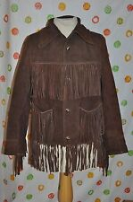 WESTERN RODEO vintage  BROWN LEATHER  WOMEN'S Small fringe coat retro hippie