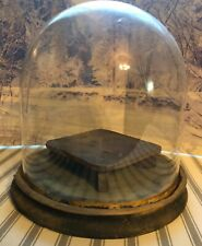 """Antique  9""""x9"""" Glass Cloche Dome Wood Base Display Case"""