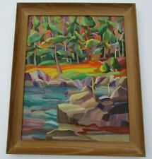 VINTAGE THOMPSON LANDSCAPE PAINTING MODERNISM ABSTRACT FAUVE COLORFUL BOLD LAKE