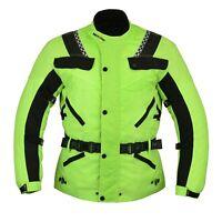 HI Vis Motorcycle Motorbike CE armoured Waterproof Cordura jackets Hi VIZ