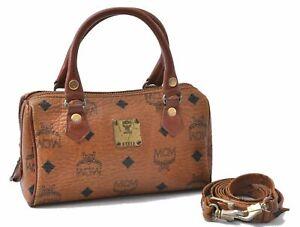 Auth MCM Cognac Visetos Leather Vintage Mini Boston Hand Bag 2Way Brown D3878