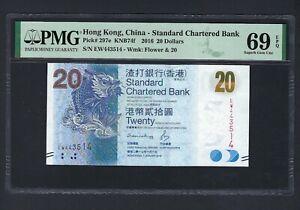 Hong Kong 20 Dollars 1-1-2016 P297e Uncirculated Grade 69