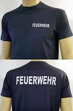 FEUERWEHR T-Shirt in marineblau / FW-gerade in weiß, Herren-Größe S bis 4XL